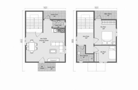 91 m2 Villa prefabbricata