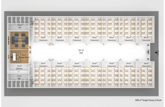 Aula portatile 808 m²