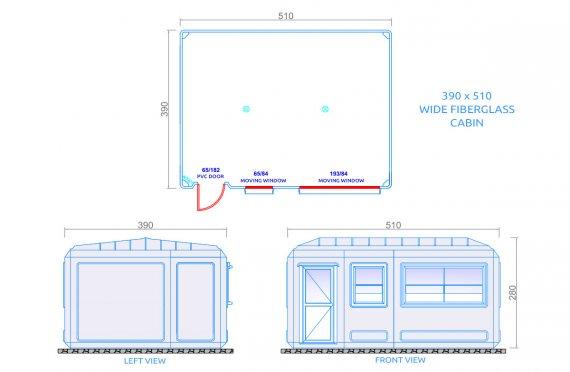 Edificio portatile largo 390x510 cm