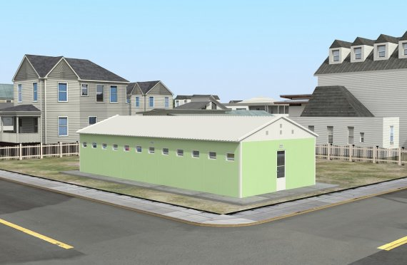 Edificio prefabbricato per servizi igienici e docce 97 m²