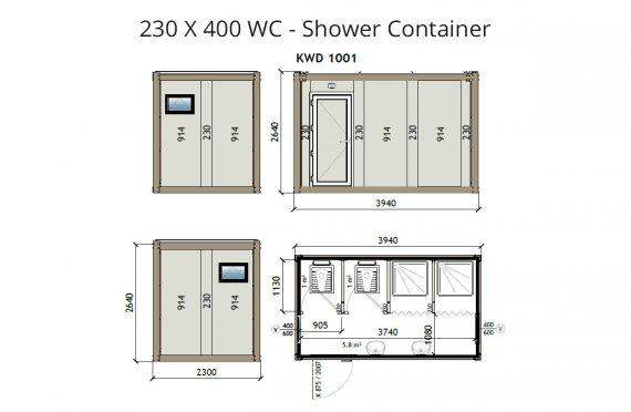 KW4 230X400 WC - Contenitore di doccia