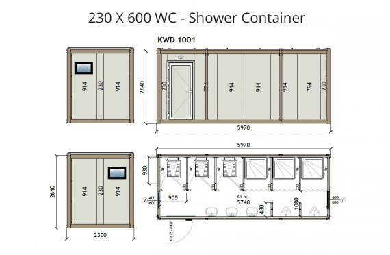 KW6 230X600 WC e doccia Contenitore