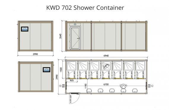Contenitore di doccia KWD 702